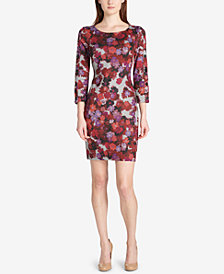 Tommy Hilfiger Floral Snap-Sleeve Sheath Dress