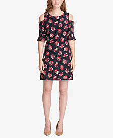 Tommy Hilfiger Floral Cold-Shoulder A-Line Dress