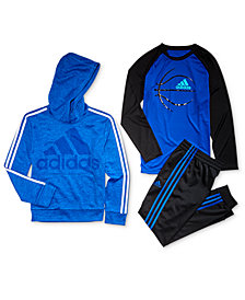 adidas Big Boys Logo-Print Hoodie, Ball-Print T-Shirt	& Jogger Pants