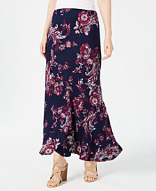NY Collection Petite Printed Pull-On Skirt