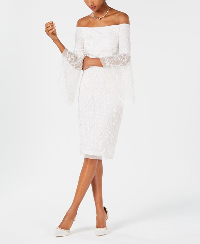 Adrianna Papell - Off-The-Shoulder Beaded Dress