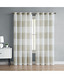 "VCNY Home August Stripe 54"" x 108"" Semi-Sheer Grommet Window Panel"