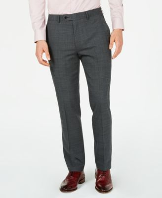 Men's Slim-Fit Active Stretch Gray Windowpane Sharkskin Suit Pants, Created for Macy's