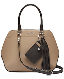 Calvin Klein Susan Saffiano Leather Small Satchel