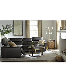 Fanna Leather Sectional with Power Recliners and Articulating Headrest, Created for Macy's