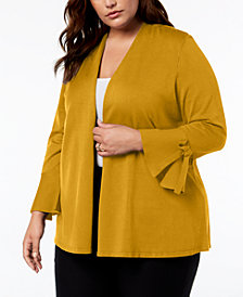 Alfani Plus Tie-Sleeve Cardigan, Created for Macy's