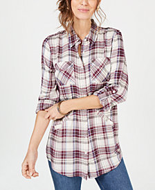 Style & Co Plaid Tab-Sleeve Tunic Top, Created for Macy's