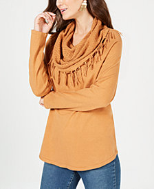 Style & Co Fringe-Trimmed Cowl-Neck Sweater, Created for Macy's