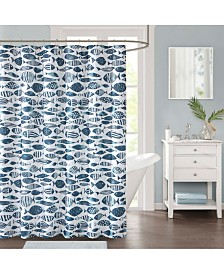 "Décor Studio Sanibel 72"" x 72"" Faux-Linen Shower Curtain"