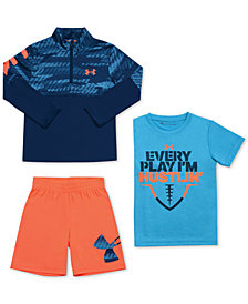 Under Armour Little Boys Printed 1/4-Zip Shirt, Graphic-Print T-Shirt & Striker Shorts