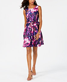 Nine West Floral Taffeta Fit & Flare Dress