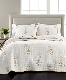 Embroidered Pineapple Quilt and Sham Collection, Created for Macy's