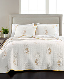 Martha Stewart Collection Embroidered Pineapple Twin Quilt, Created for Macy's
