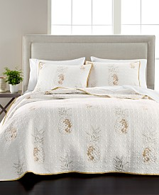 Martha Stewart Collection Embroidered Pineapple Quilt and Sham Collection, Created for Macy's