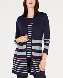 Charter Club Petite Striped Cardigan, Created for Macy's