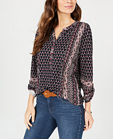 Style & Co Printed Roll-Tab Sleeve Top, Created for Macy's