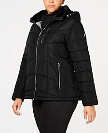 Plus Size Faux-Fur-Lined Hooded Puffer Coat, Created For Macy's