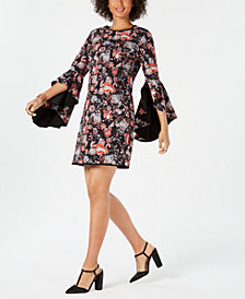 Laundry Reversible Floral Angel-Sleeve Sheath Dress