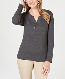 Petite Long-Sleeve Cotton Henley, Created for Macy's