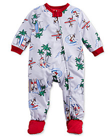 Matching Family Pajamas Infants Surfing Santa Footed Pajamas, Created for Macy's