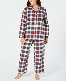 Matching Family Pajamas Plus Size Women's Stewart Plaid Pajama Set, Created For Macy's