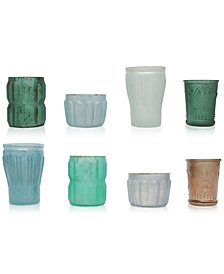 Mercury Green Glass Tealight Holders, Set of 8