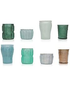 Mercury Green Glass Tealight Holders, Set of 8