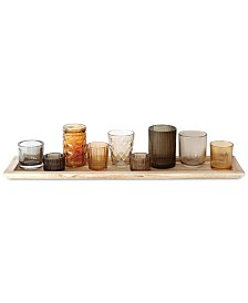 10-Pc. Wood Tray & Brown Glass Votive Holders