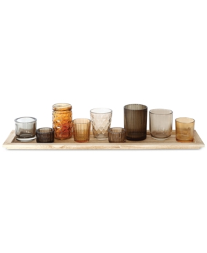 Image of 10-Pc. Wood Tray & Brown Glass Votive Holders