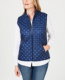 Karen Scott Polka Dot Puffer Vest, Created for Macy's