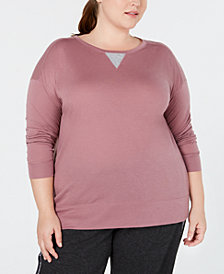 Calvin Klein Performance Plus Size Drop-Shoulder Long-Sleeve Top