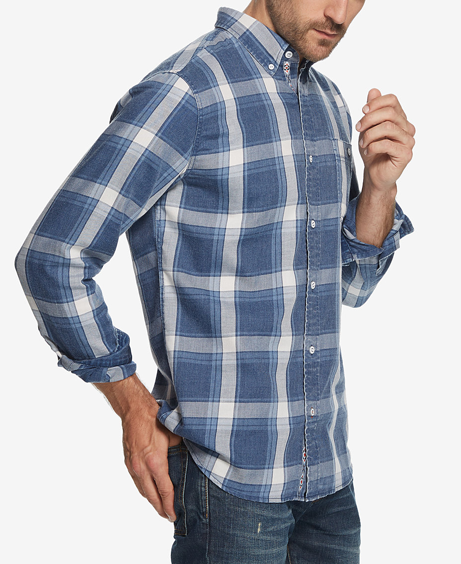 Weatherproof Vintage Mens Burnout Plaid Flannel Shirt Shirts
