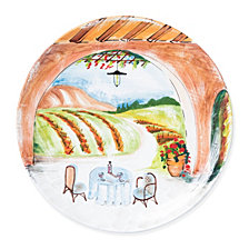Vietri Landscape Inside Looking Out Round Wall Plate