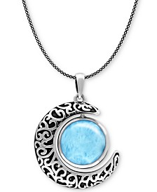 "Marahlago Larimar Crescent Moon 21"" Pendant Necklace in Sterling Silver"