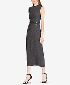 Lauren Ralph Lauren Buckled Mock Neck Midi Dress