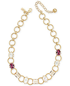 "kate spade new york Gold-Tone Stone & Imitation Pearl Collar Necklace, 16"" + 3"" extender"