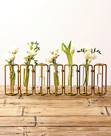 Lavoisier Set of 7 Hinged Flower Vases with Antiqued Gold Finish