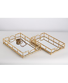 Two's Company Golden Elegance Mirrored Glass Trays - Set of 2