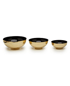 Double Play Set of 3 Black Decorative Lacquer Bowls Includes 3 Sizes
