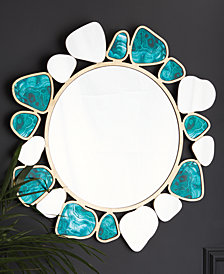 Malachite Pattern Free Form Wall Mirror with Gold Backing