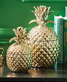 Golden Hospitality Set of 2 Pineapple Jars with Lid Includes - Small and Large