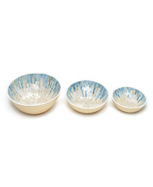 Palawan Set of 3 Oval Mother of Pearl Mosaic Lacquered Bamboo Bowls