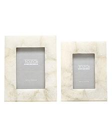 White Quartz Set of 2 Photo Frames in Gift Box Includes 2 Sizes