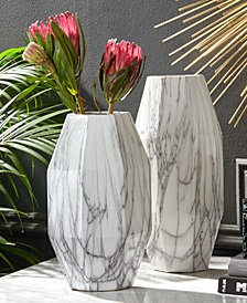 Angles Set of 2 White Faux Carrara Marble Vases
