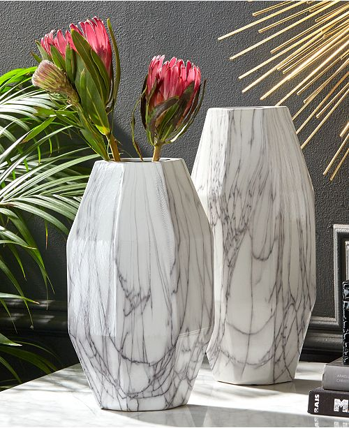Twos Company Angles Set Of 2 White Faux Carrara Marble Vases Home