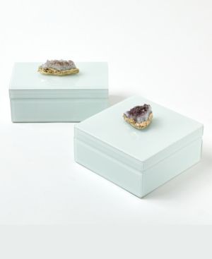 Two's Company Amethyst Geode Boxes, Set of 2