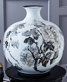 Large Hand Painted Gold and Black Floral Design Jar