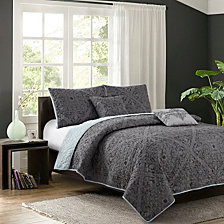 Bastille Gray 5-Piece Quilt Set, Full/Queen