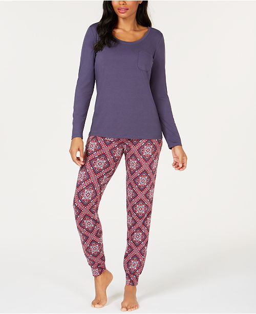 Charter Club Scoop-Neck Top & Printed Jogger Pajama Pants, Created for Macy's