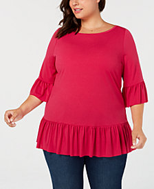 Belldini Black Label Plus Size Ruffle-Hem Tunic